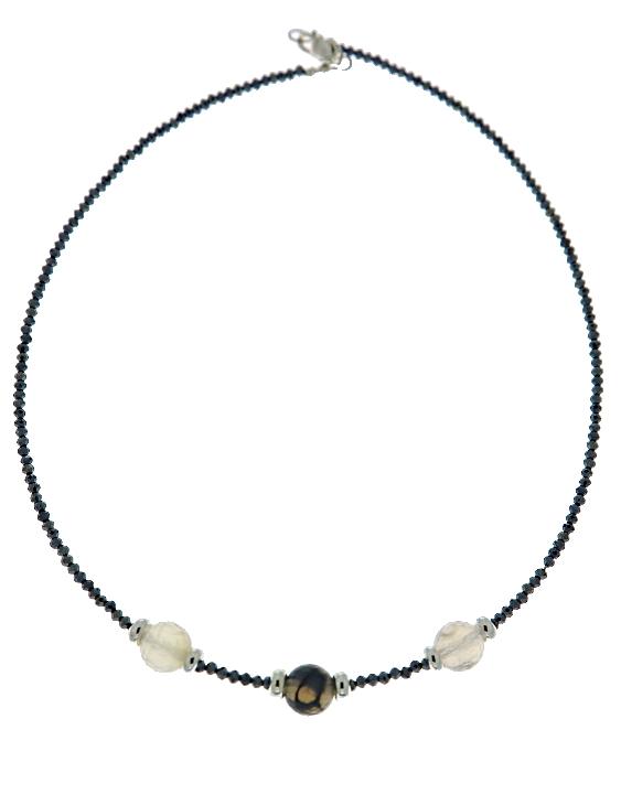 Collar ARQUE Plata con Espinelas y Agatas Mujer