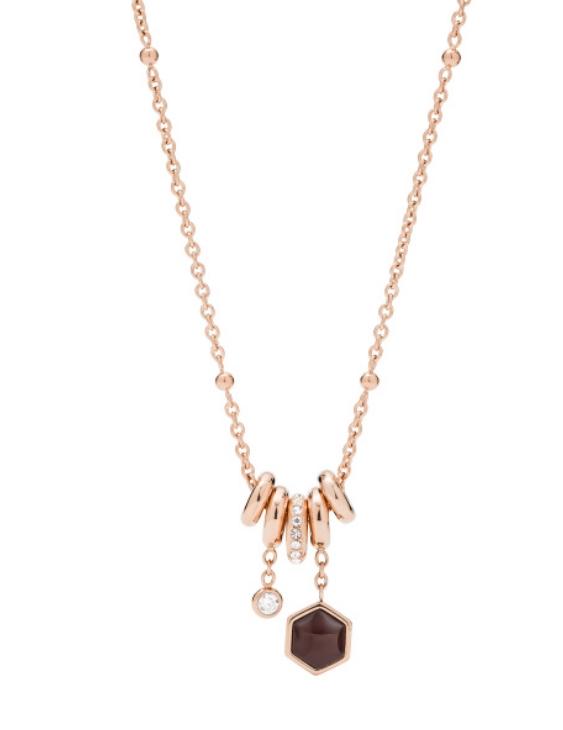 Collar FOSSIL JF03063791 coleción CLASSICS Acero con Tratamiento IP Rosa Mujer.
