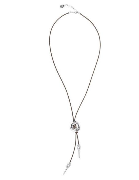 Collar UNO DE 50 COL1558MARMTL0U Metal con Baño de Plata y Cuero Mujer