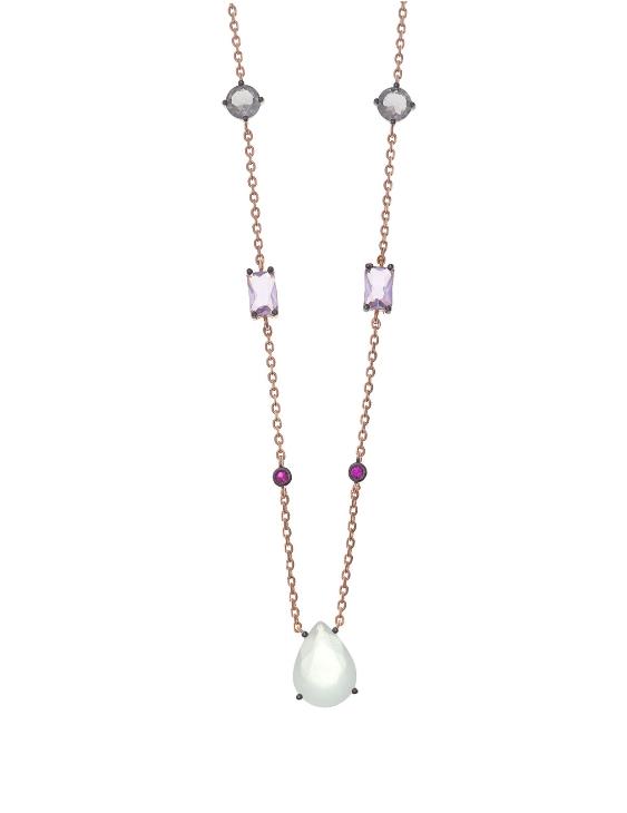 Collar SALVATORE 237C0007 Plata con Baño Oro Rosa y Piedras Color Mujer
