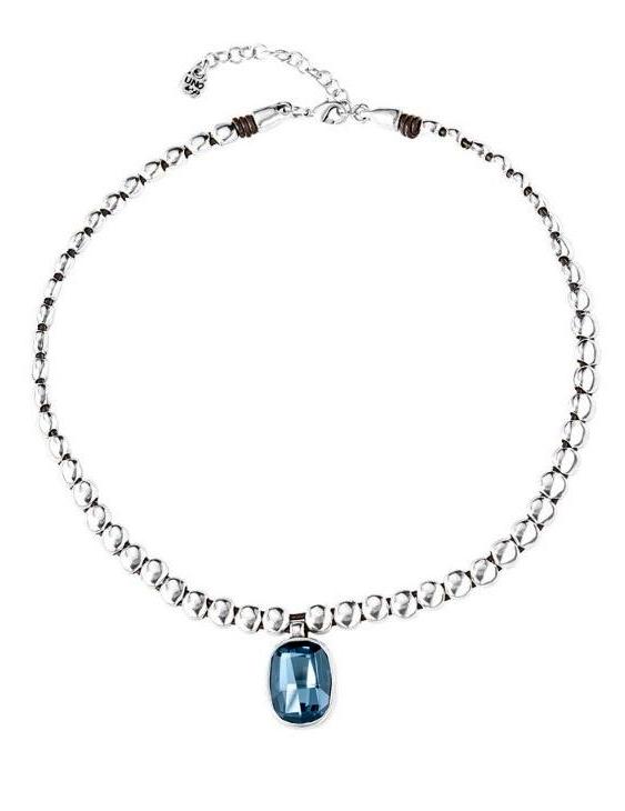 Collar UNO DE 50 COL1568AZUMTL0U Metal con Baño de Plata y Cuero con Swarovski Mujer