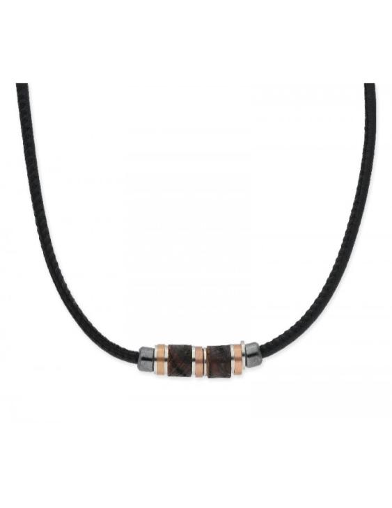 Collar LISKA NAT034CL Acero con Piel y Madera Hombre