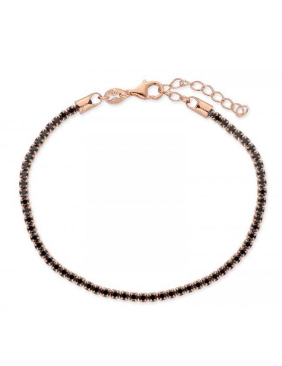 Pulsera LISKA LAD1074BT-R Plata con Baño de Oro Rosa y Circonitas Negras Mujer