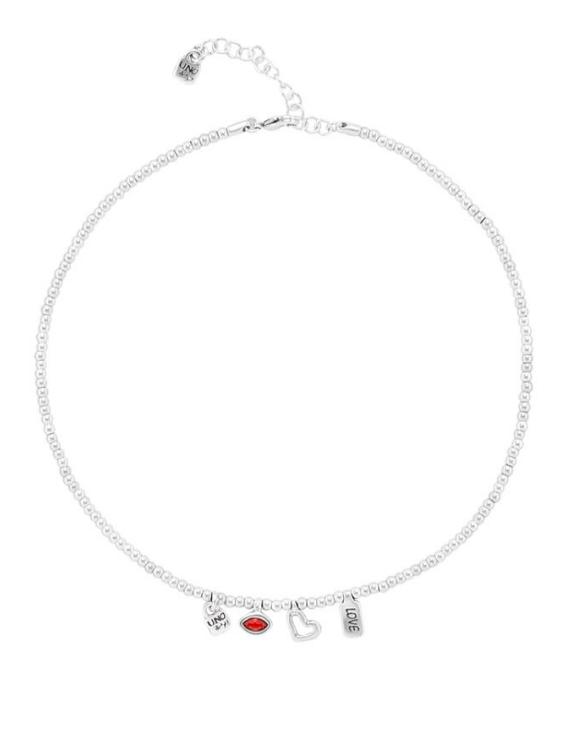 Collar UNO DE 50 COL1406ROJMTL0U Metal con Baño de Plata 15 micras. Mujer