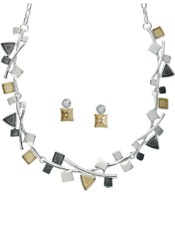 Collar y Pendientes ANTOLELLI 670280 Metal Antialérgico Dorado y Plateado Mujer