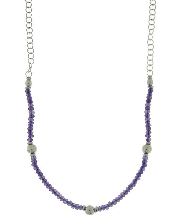 Collar LISKA LA6259CL Plata con Amatistas Mujer