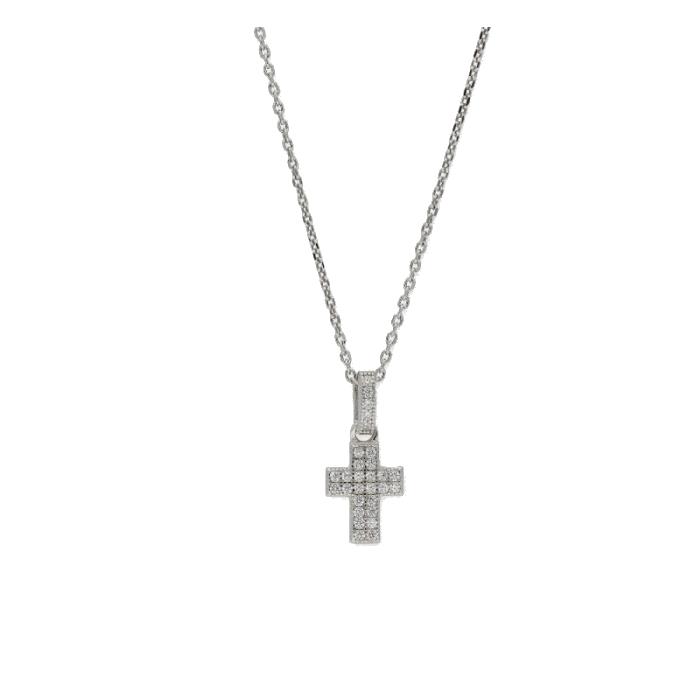 Collar LISKA LAD4506CL Cruz Plata con Circonitas Mujer