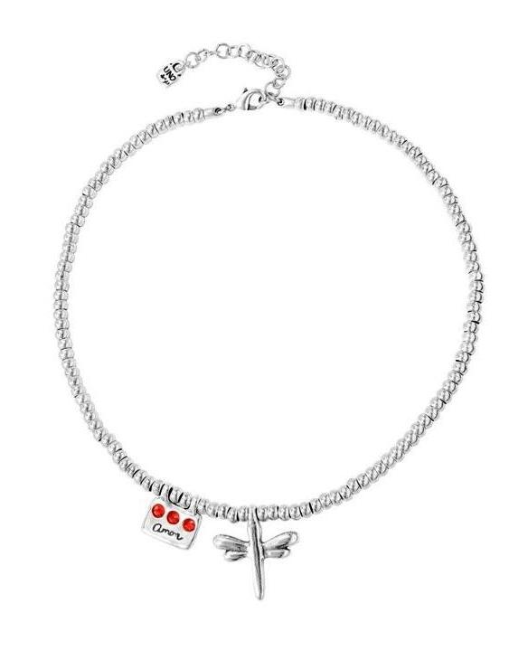 Collar UNO DE 50 COL1590ROJMTL0U Metal con Baño de Plata 15 Micras y Swarovski Mujer