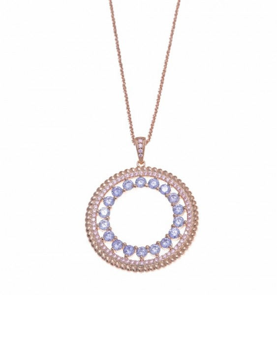 Collar SALVATORE 211C0006 Plata Chapado Oro Rosa con Circonitas Mujer