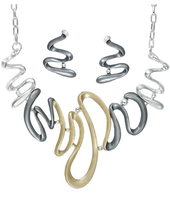 Collar y Pendientes ANTOLELLI 670279 Metal Antialérgico Dorado y Plateado Mujer