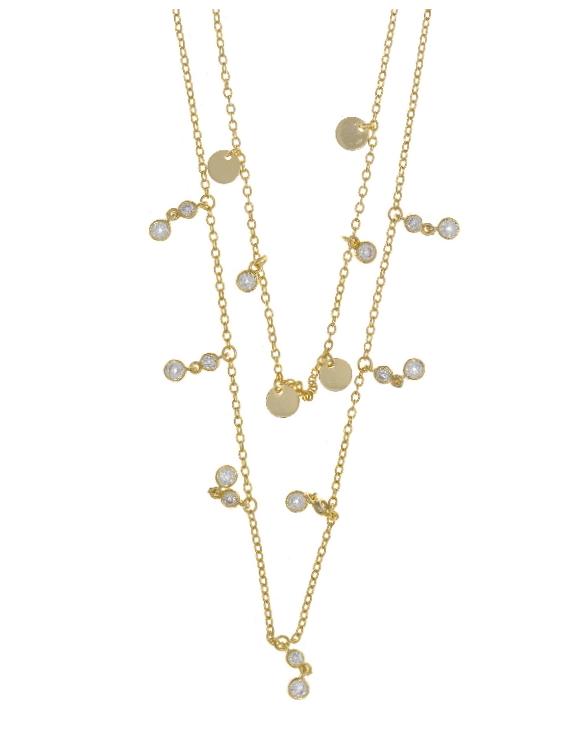Collar SALVATORE 164C0060 Plata con Baño de Oro y Circonitas Mujer.