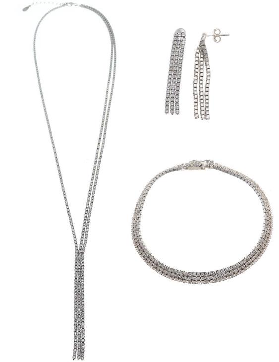Conjunto Collar Pulsera y Pendientes SALVATORE 238CJ0003 Plata con Circonitas Mujer