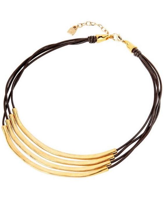 Collar UNO DE 50 COL1605OROMAR0U Metal con Baño de Oro y Cuero Mujer