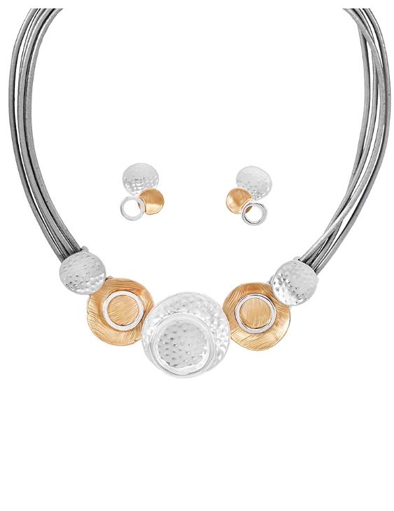 Collar y Pendientes ANTOLELLI 670223 Metal Antialérgico Dorado y Plateado Mujer