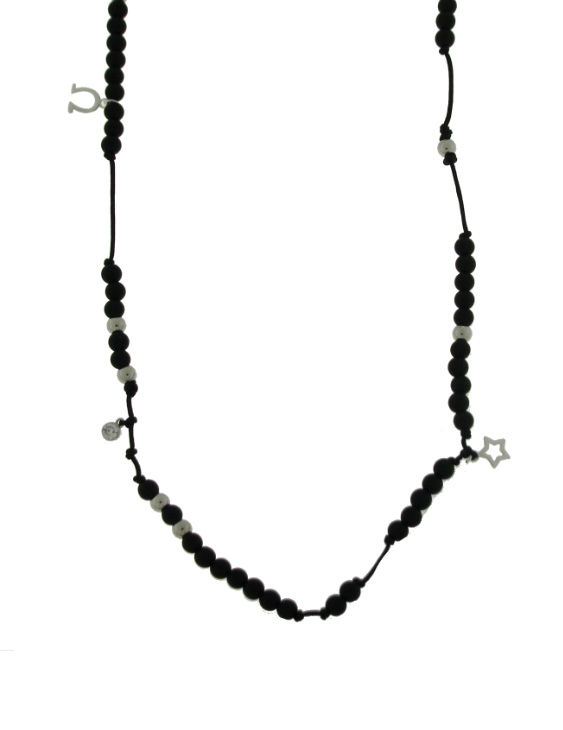 Collar ARQUE COLL16 Plata con Onix y Zirconita Mujer