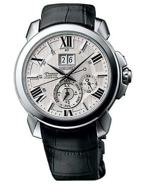 Reloj Seiko SNP143P1 PREMIER Kinetic Correa Piel Hombre