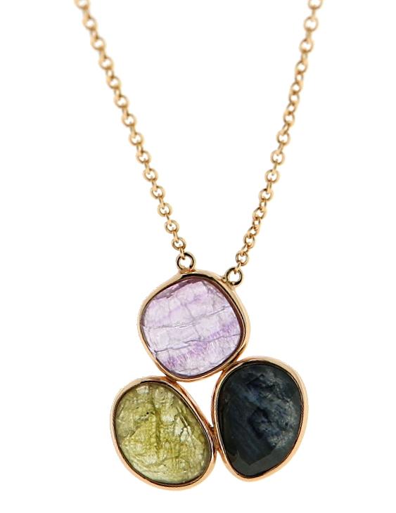 Collar LISKA BP2482FLDM Plata con Baño de Oro Rosa y Piedras Naturles