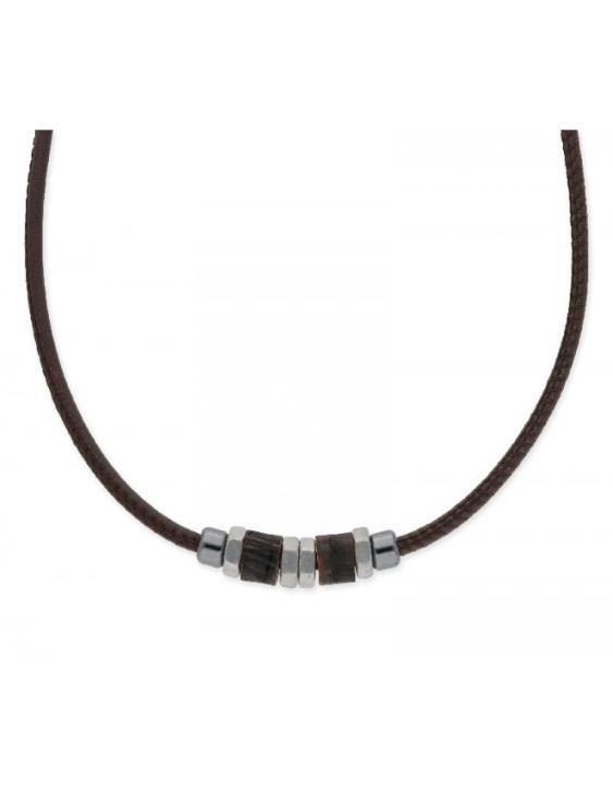 Collar LISKA NAT033CL Acero con Piel y Madera Hombre