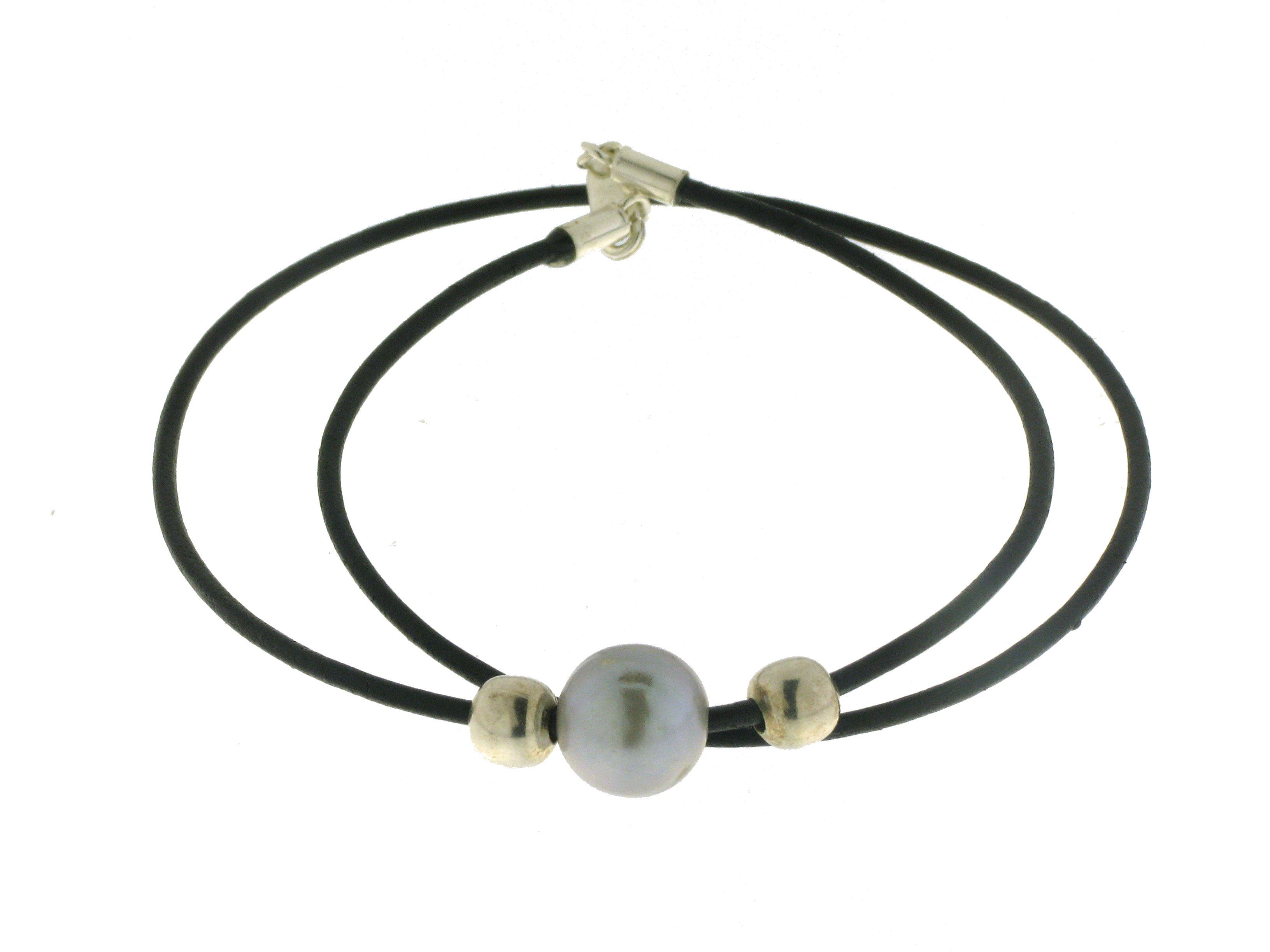Collar Plata Perla Cuero Negro Mujer