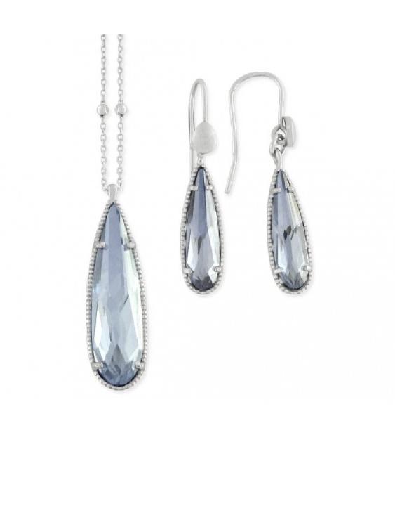 Conjunto Collar y Pendientes  LSW3117C-A Plata con Circonitas Mujer