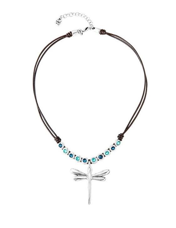Collar UNO DE 50 COL1578AZUMTL0U Metal con Baño de Plata y Cuero con Swarovski Mujer