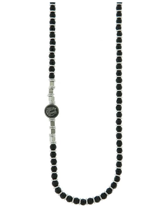 Collar SCULL RIDER SR073 Acero con Circonitas y Piedras Naturales