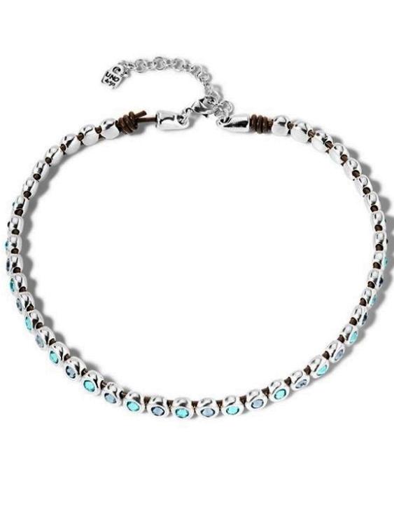 Collar UNO DE 50 COL1577AZUMTL0U Metal con Baño de Plata y Cuero con Swarovski Mujer