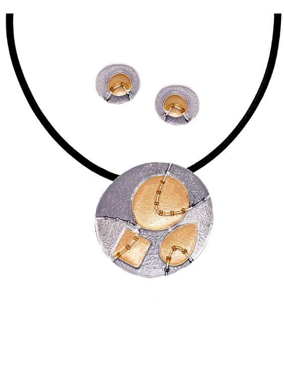 Collar y Pendientes ANTOLELLI 670250 Metal Antialérgico Dorado y Plateado Mujer