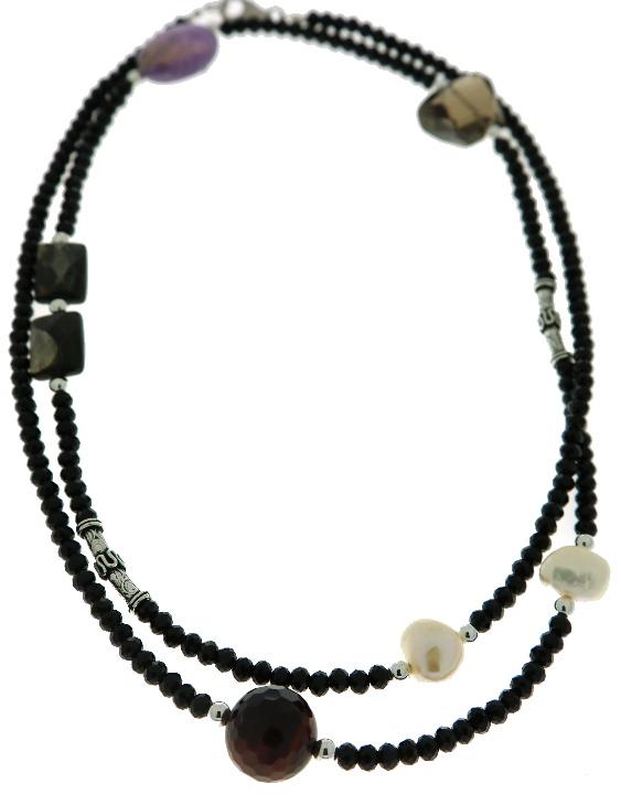 Collar ARQUE Plata con Azabache, Cuarzo Fume, Ojo de tigre, Amatista, Perla y Obsidiana Mujer