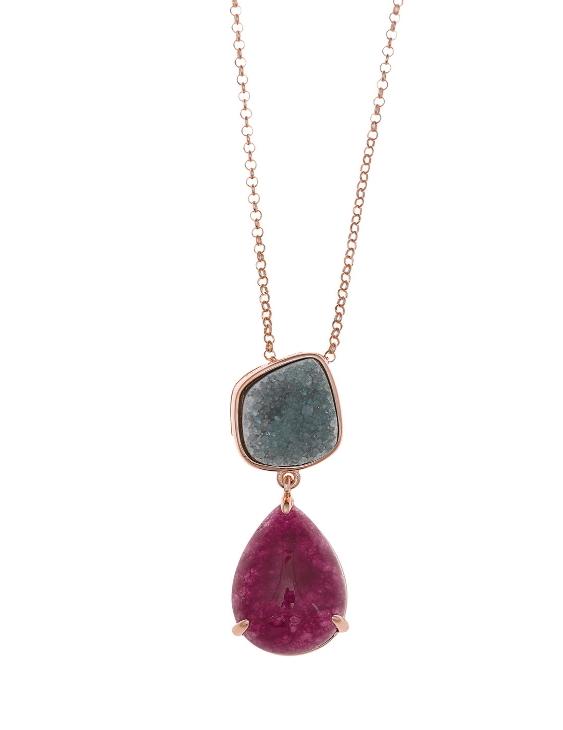 Collar SALVATORE 241C0025 Plata con Baño de Oro Rosa y Agatas Mujer