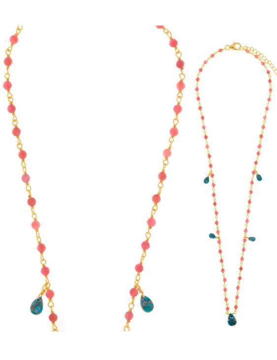 Collar SALVATORE 163C0121 Plata con Baño de Oro Turquesas y Turmalinas