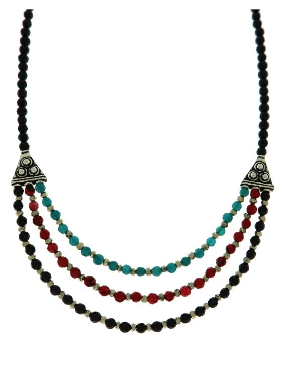 Collar ARQUE Plata con Onix, Rubíes, Cuarzo y Pirita Mujer