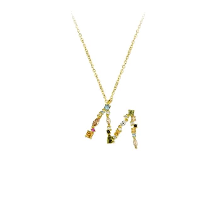 Collar LISKA LET01CL-MD Letra de Plata con Baño de oro y Circonitas Mujer