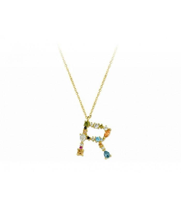 Collar LISKA LET01CL-RD Letra de Plata con Baño de oro y Circonitas Mujer