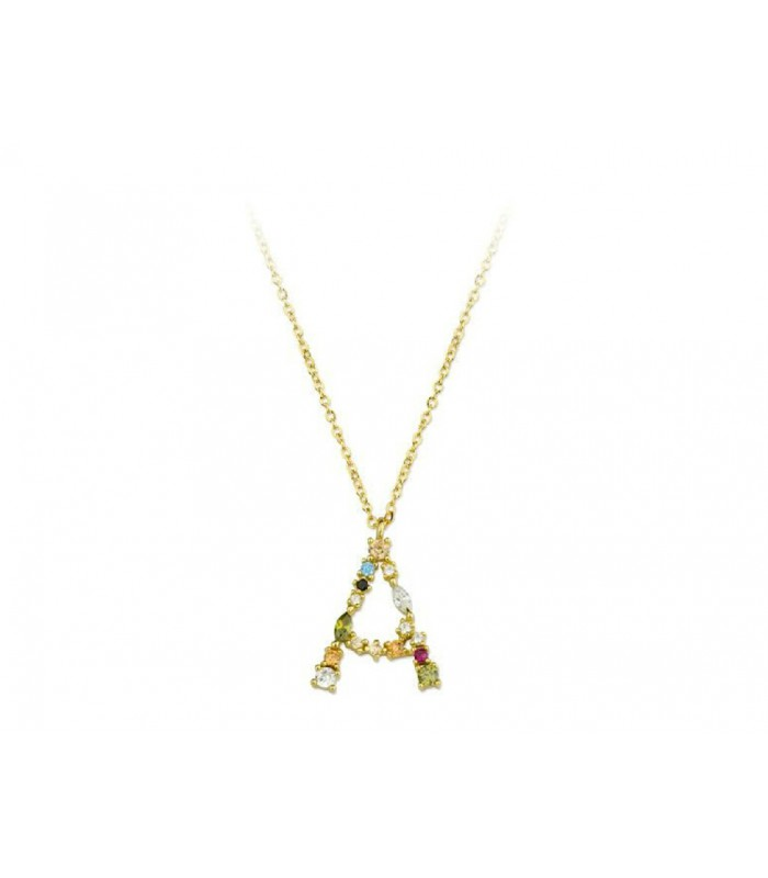 Collar LISKA LET01CL-AD Letra de Plata con Baño de oro y Circonitas Mujer