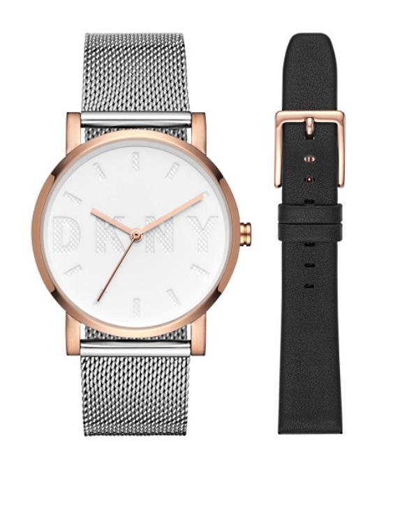 Reloj y Correa SET DKNY NY2663 THE MODERNIST Acero Bicolor IP Rosa Mujer