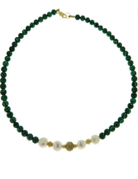 Collar ARQUE Plata con Baño de Oro, Bolitas de Oro, Malaquita y Perla Mujer