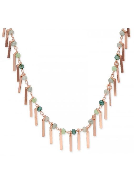 Collar LISKA LAF2116CL Plata con Baño de Oro Rosa y Piedras Naturales Mujer