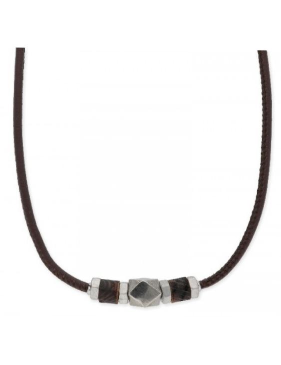 Collar LISKA NAT032CL Acero con Piel y Madera Hombre