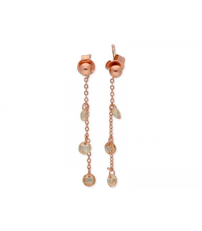 Pendientes LISKA LAF6126A-R Plata con Baño de Oro Rosa y Circonitas Mujer