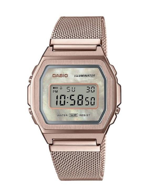 Reloj CASIOA1000MCG-9EF VINTAGE Digital Acero IP Rosa Mujer