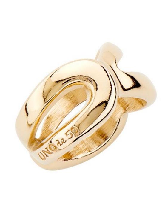 Anillo UNO DE 50 ANI0671ORO00018 Metal con Baño de Oro Talla 18 Mujer
