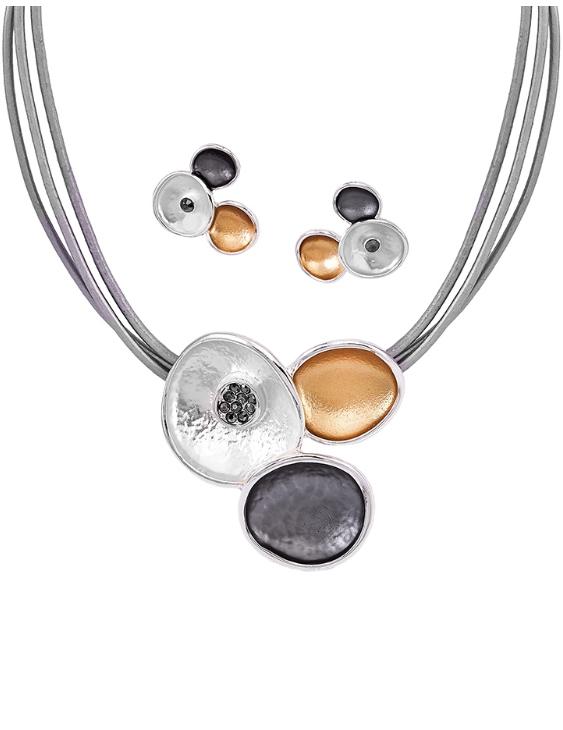 Collar y Pendientes ANTOLELLI 670226 Metal Antialérgico Dorado y Plateado Mujer